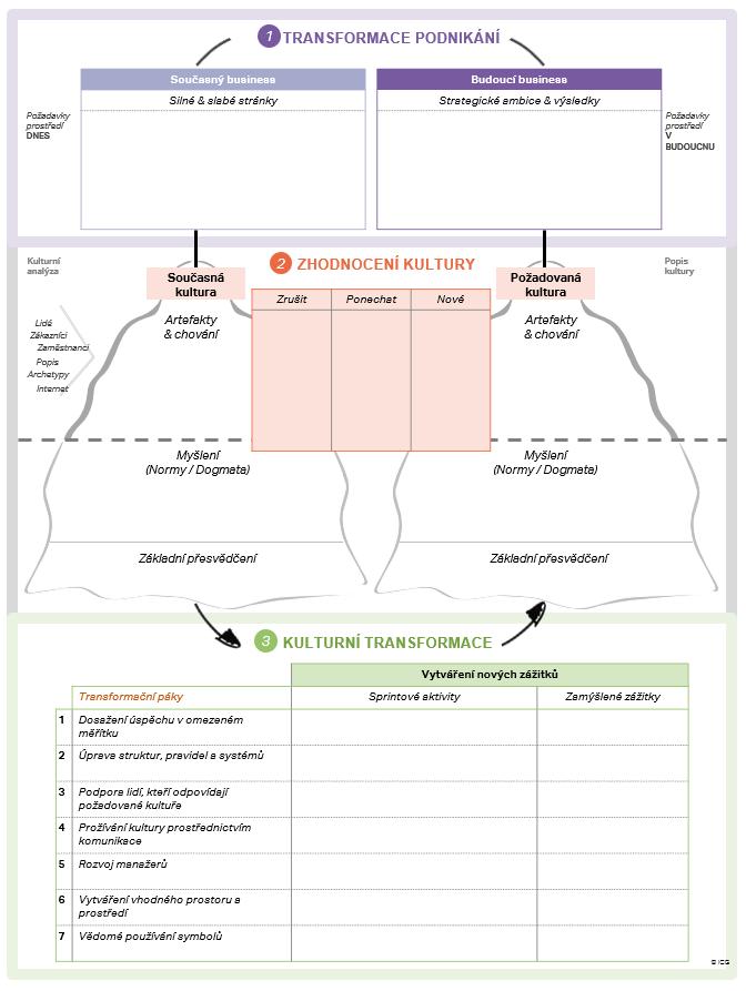 Ilustrace transformace kultury - transformace podnikání (současný a budoucí business), zhodnocení kultury (současná a požadovaná firemní kultura), kulturní transformace (transformační páky)
