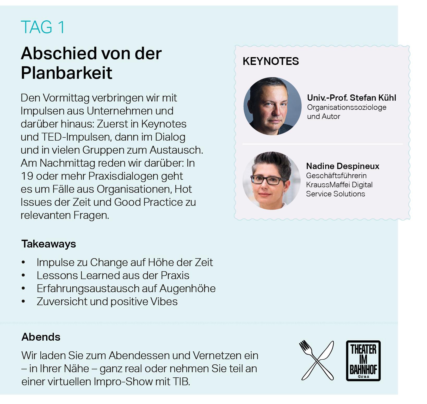 Abschied von der Planbarkeit, Keynotes, Impulse, Praxisdialoge, Good Practice, Change, Stefan Kühl, Nadine Despineux