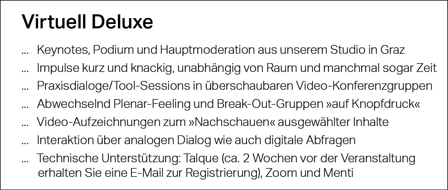 Virtuell Deluxe, Keynotes, Podium, Hauptmoderation, Graz, Tools, Videokonferenz, Break-Out-Gruppen, Zoom, Menti, Talque
