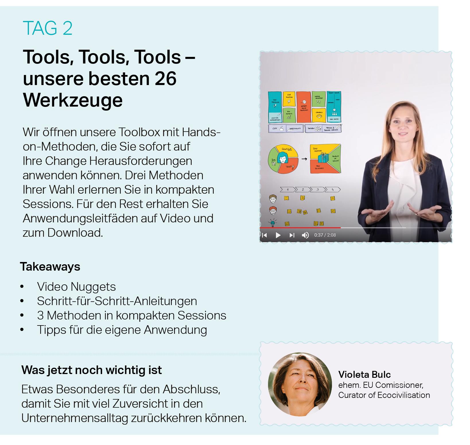 Tools, Change Management, Nuggets, Violeta Bulc