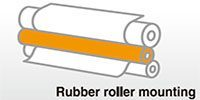 Rubber roller mounting